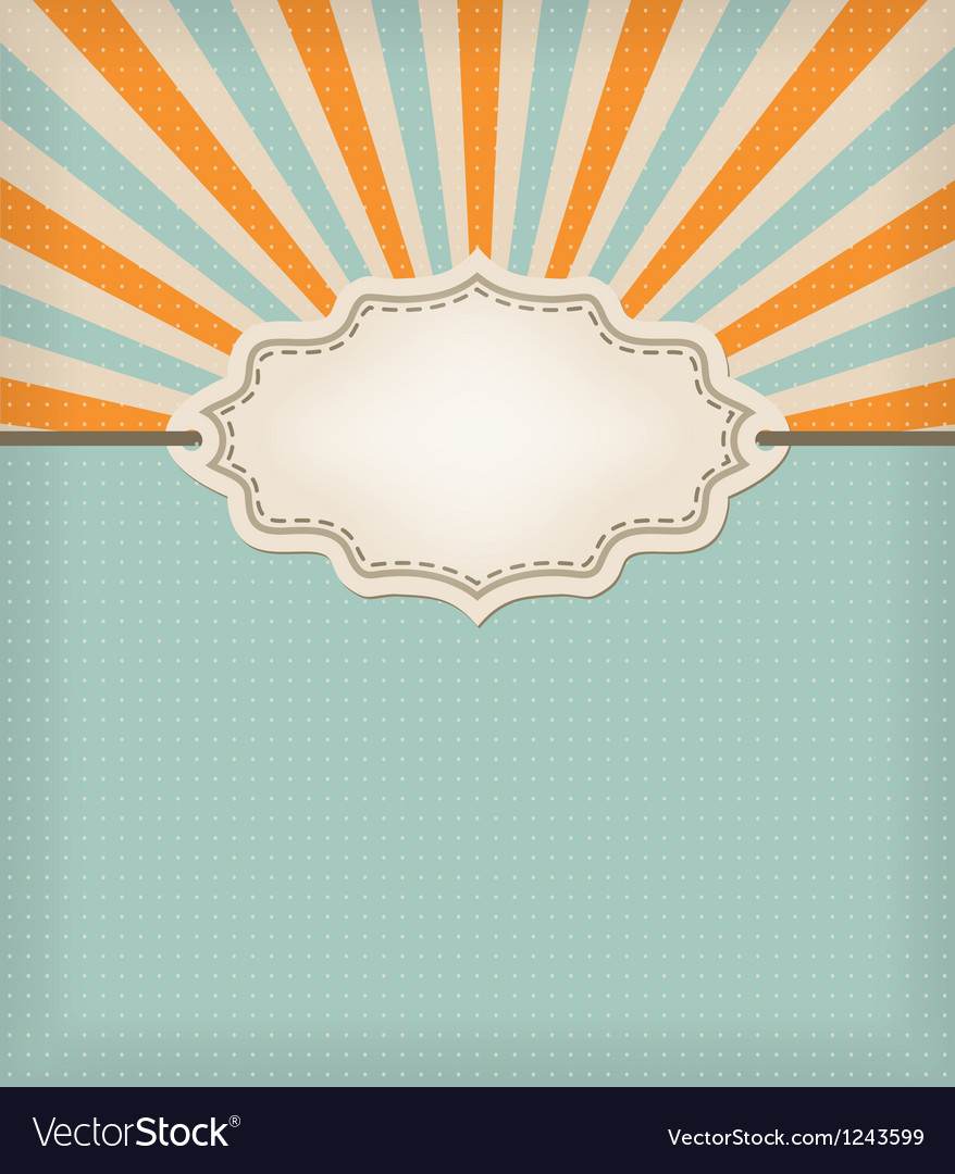Retro background label vector