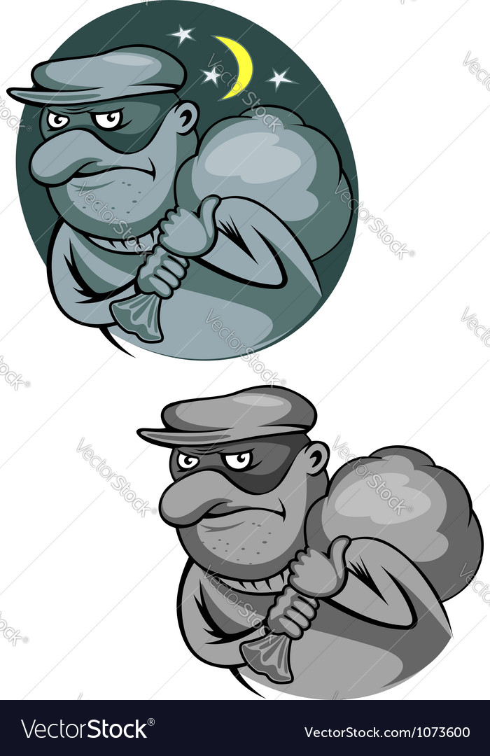 Thief bandit in mask for criminal and law concept vector