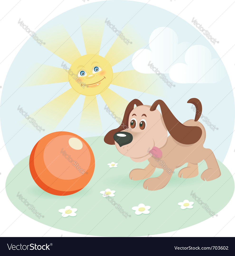 Happy dog on shiny lawn vector