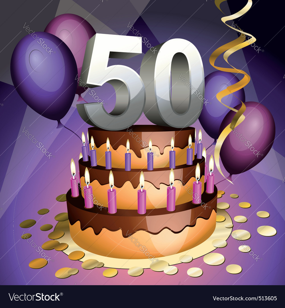 Fiftieth birthday vector