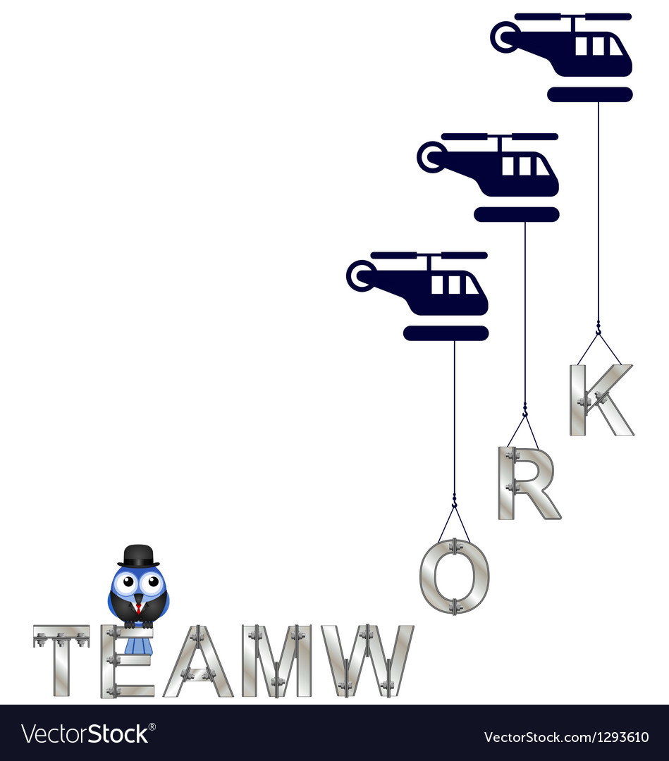 Teamwork helicopter vector