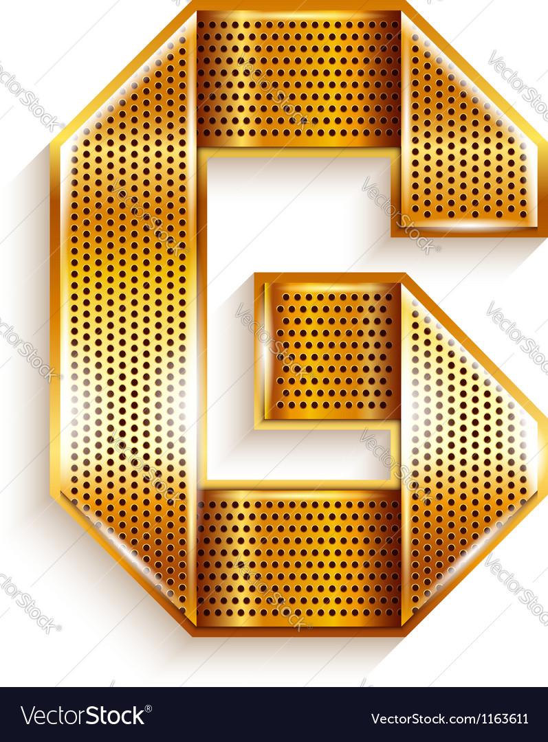 Letter metal gold ribbon  g vector