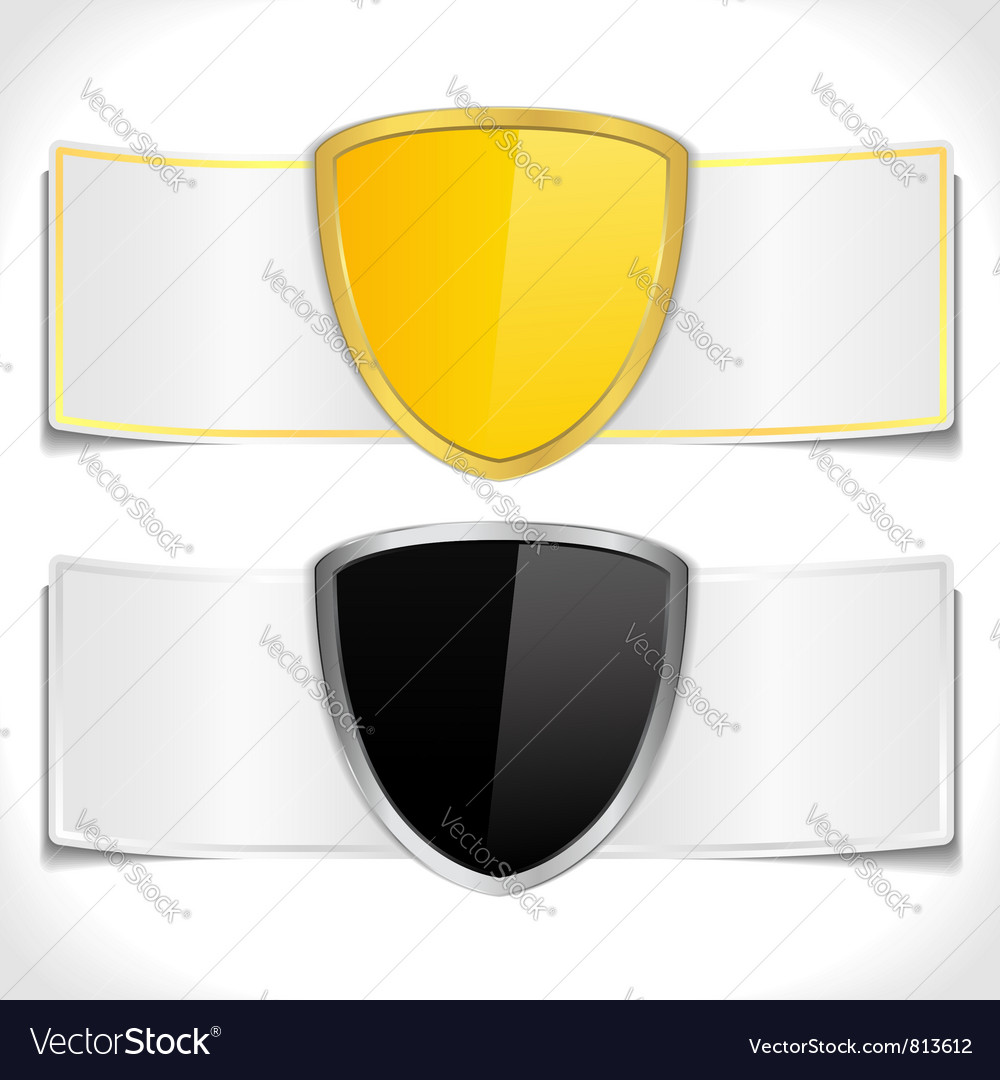 Banners with shields vector