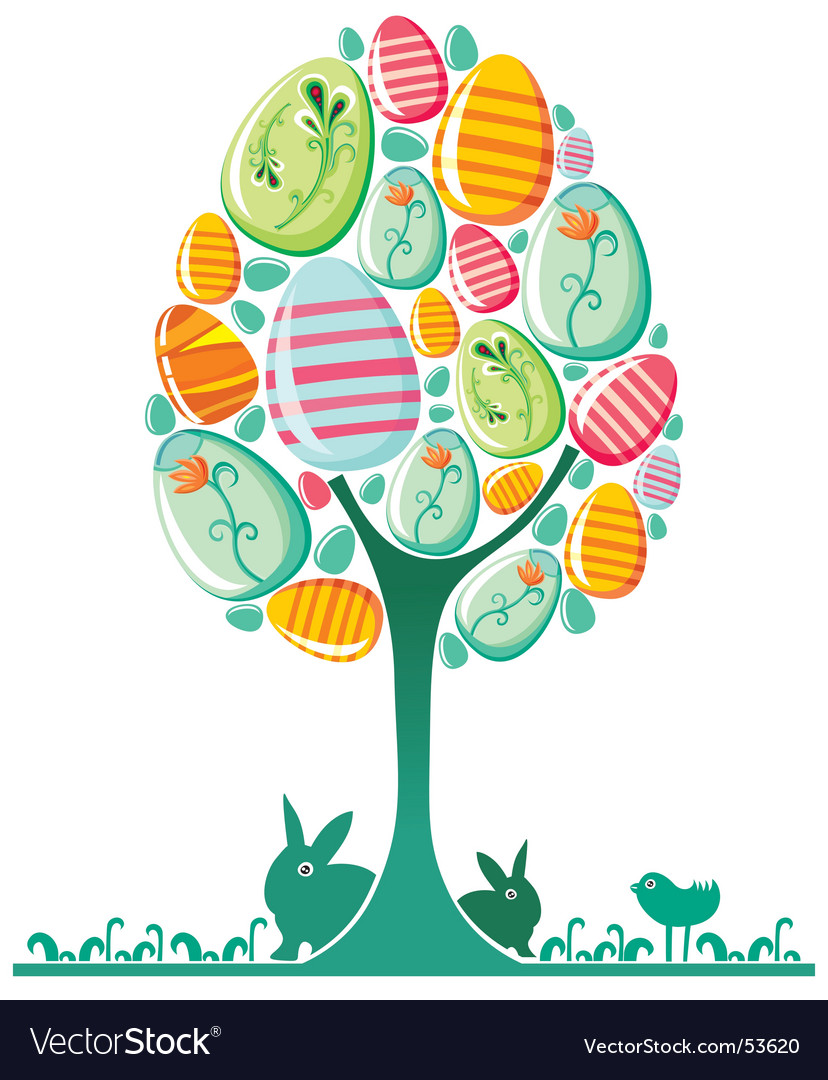 Easter egg tree vector by Dianka - Image #53620 - VectorStock