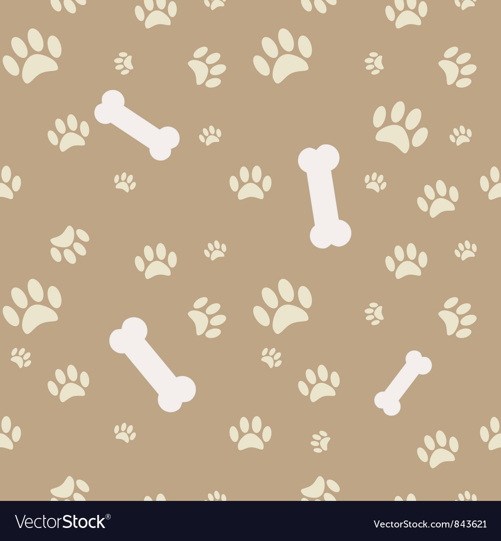 Background with dog paw print and bone vector
