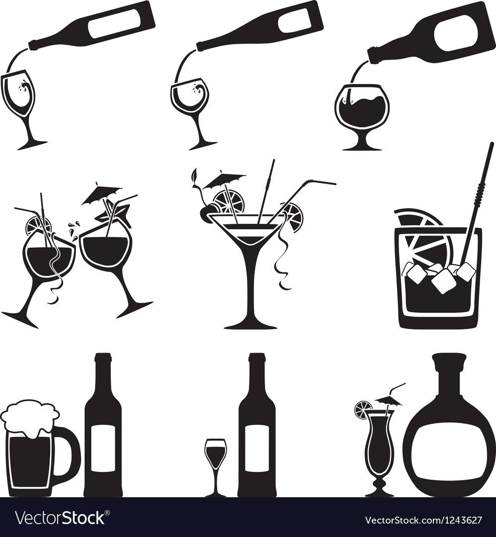 Glass and bottle set vector