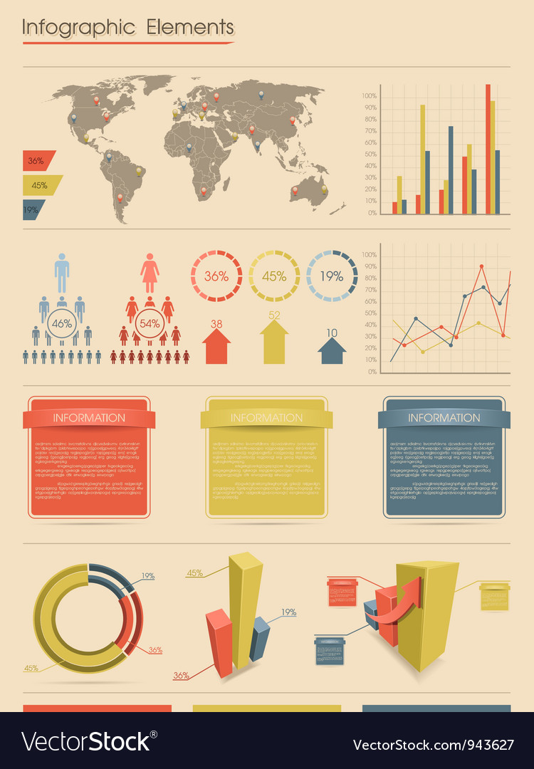 Retro infographic elements vector