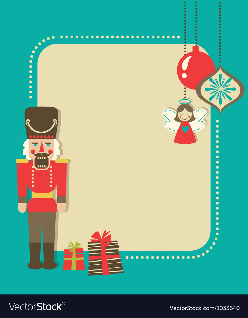 Christmas vintage greeting card with nutcracker vector
