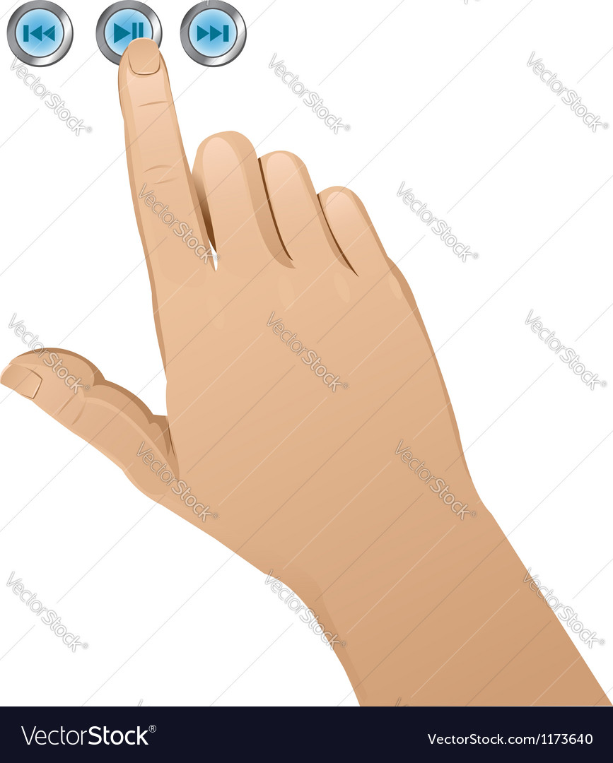 Hand pushing a button vector