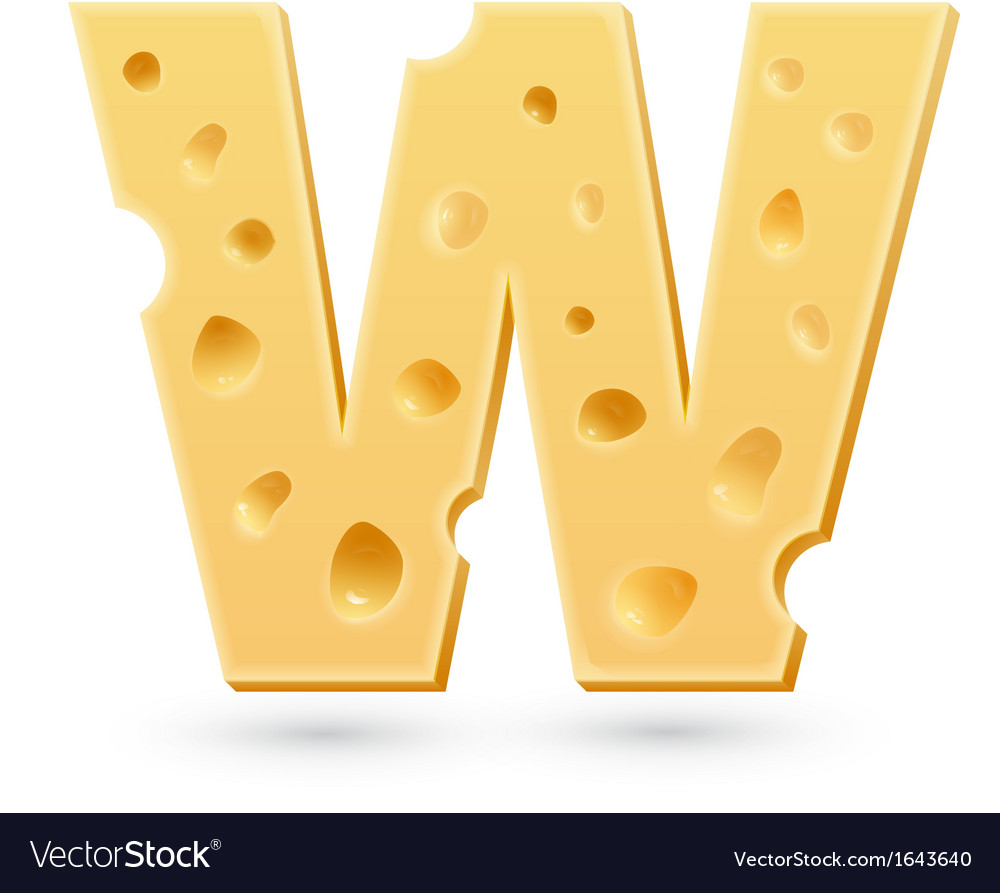 W cheese letter symbol isolated on white vector