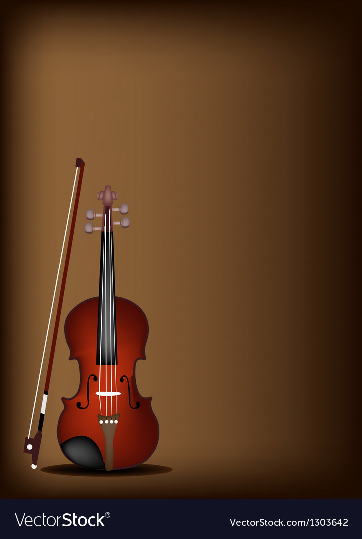 A beautiful violin on dark brown background vector