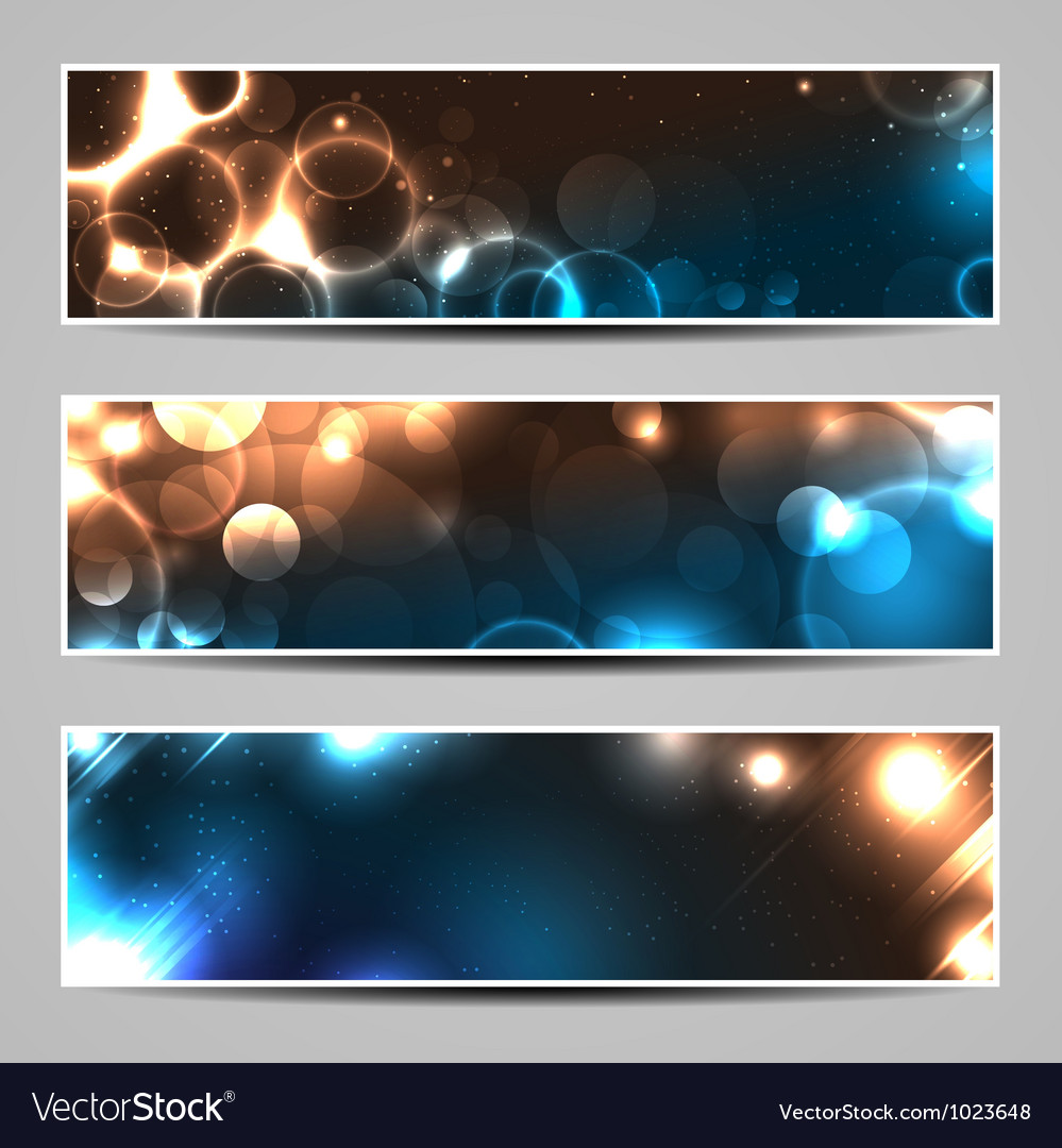 Bokeh light banners vector