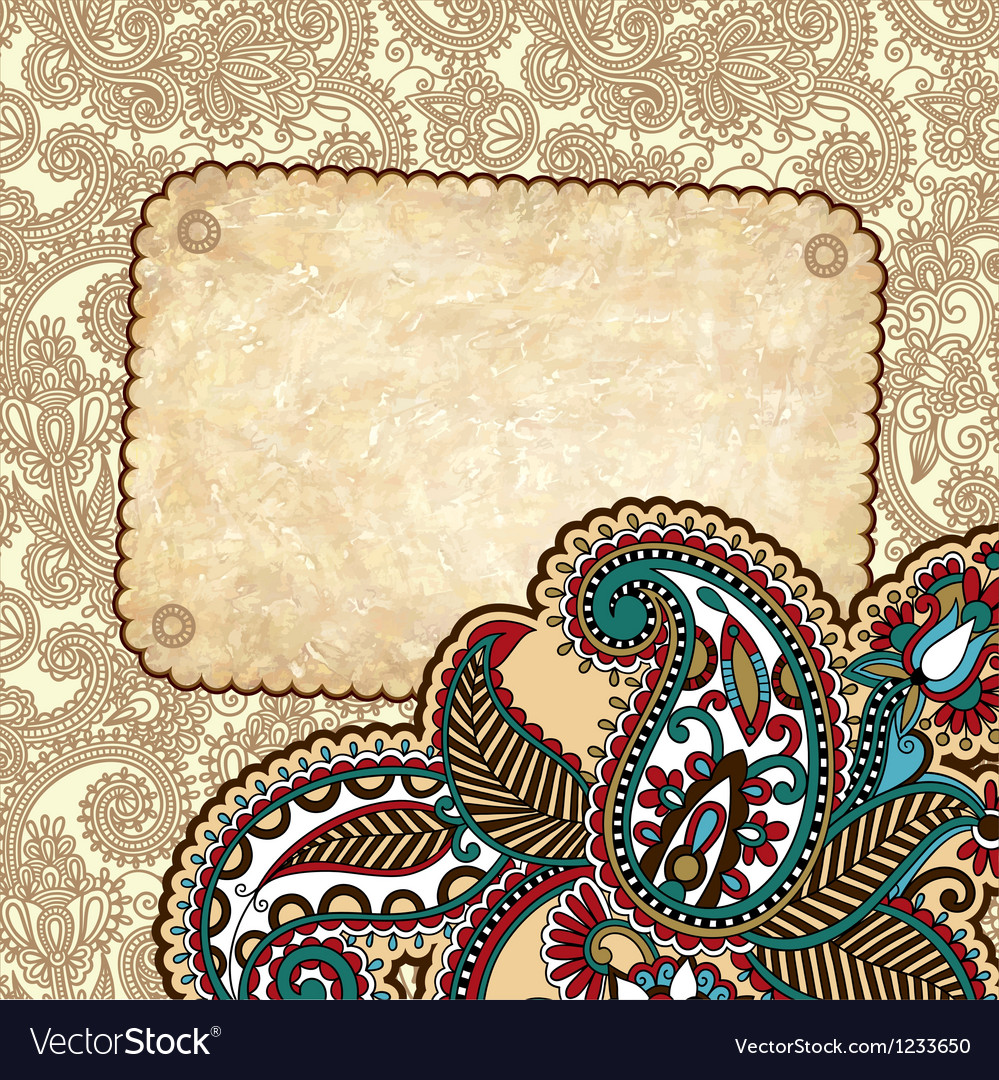 Hand draw ornate grunge vintage template vector