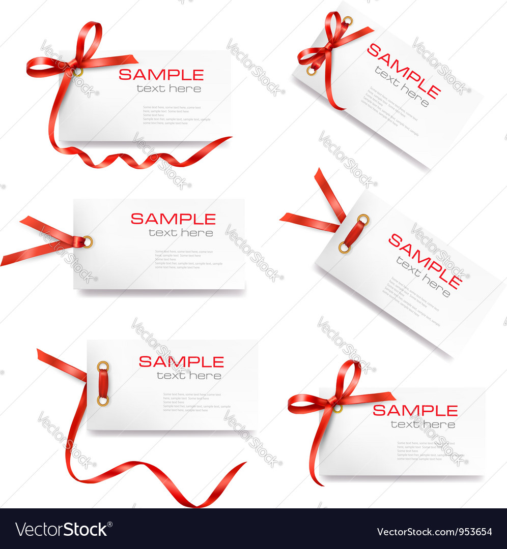 Set of labels with bow and ribbons vector