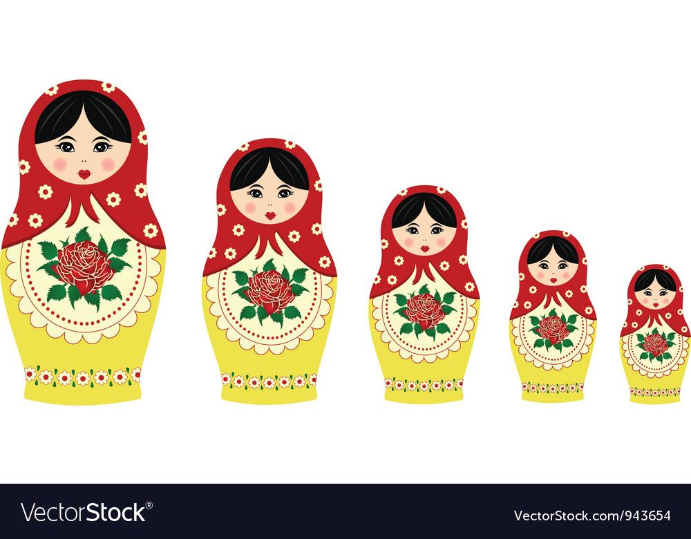 Traditional matryoschka dolls vector