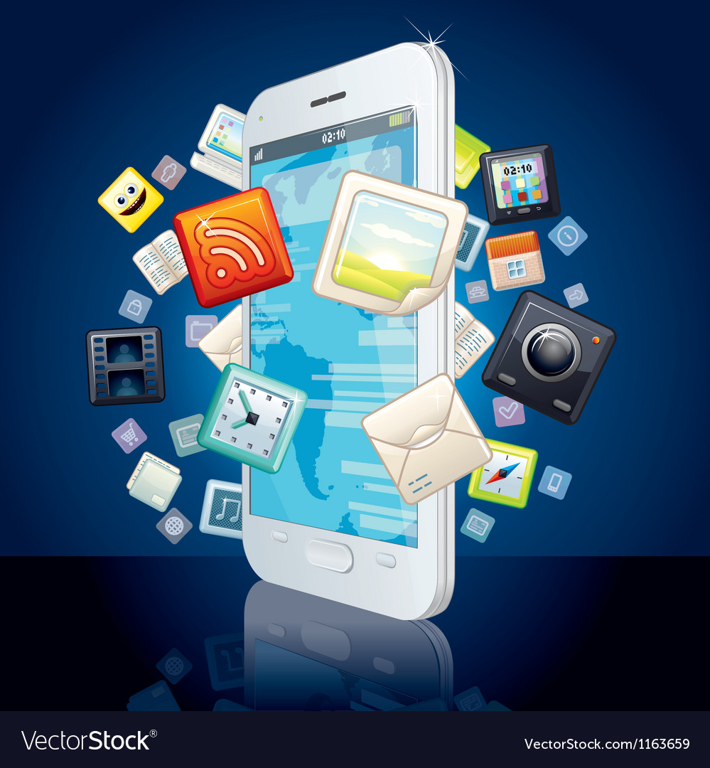 Icons cloud around touchscreen smartphone image vector