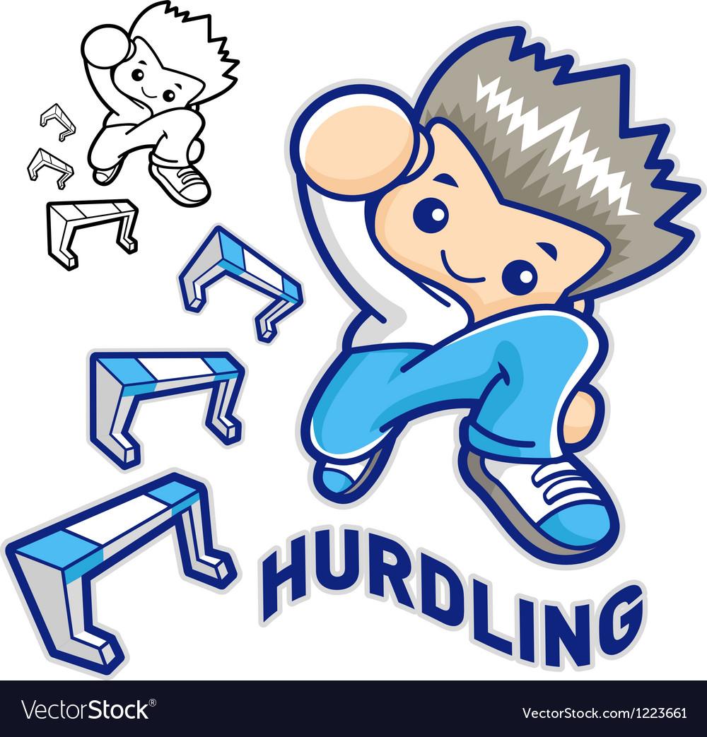 Hurdles game and jump vigorously man mascot vector