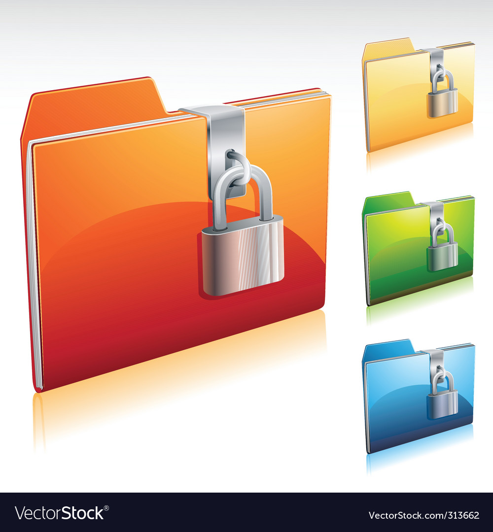 Locked folder icon vector