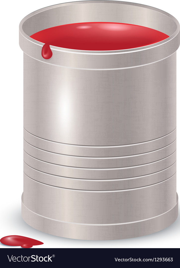 Free metallic textured bucket with red paint vector