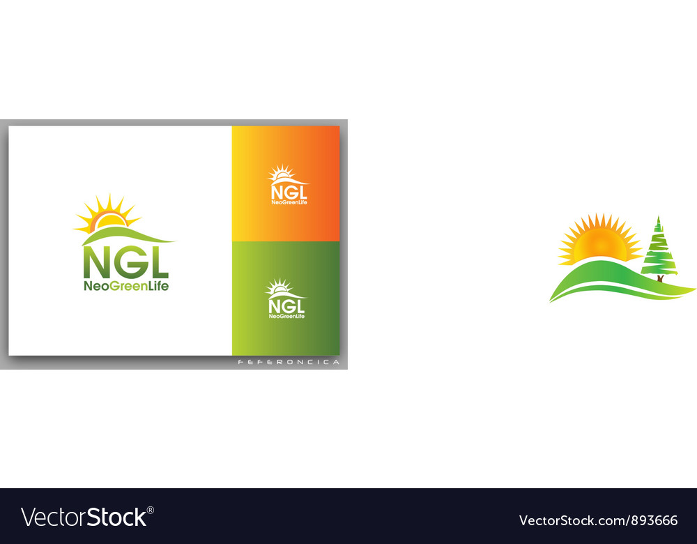 Green tree hills and sun logo vector