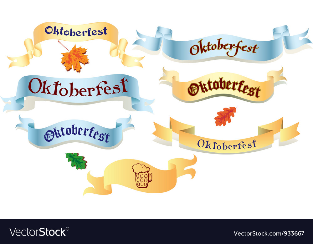 Set of ribbons oktoberfest vector
