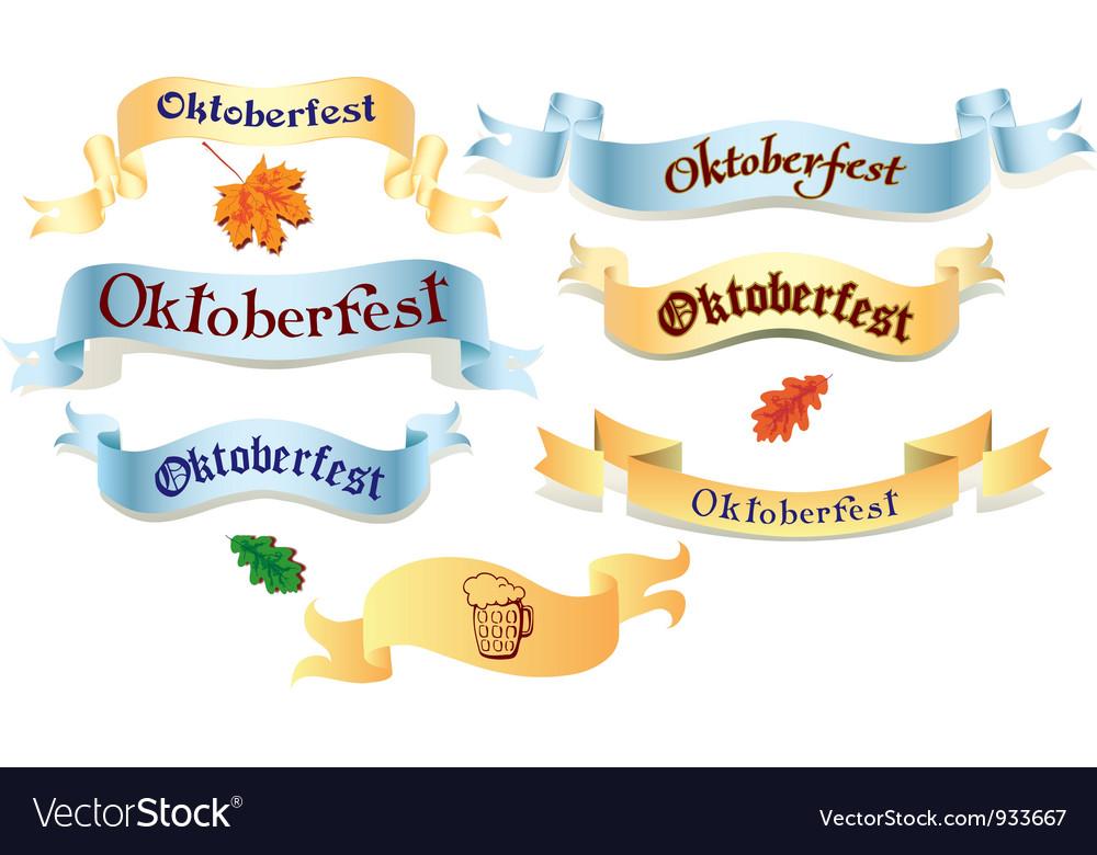 Set of ribbons oktoberfest vector