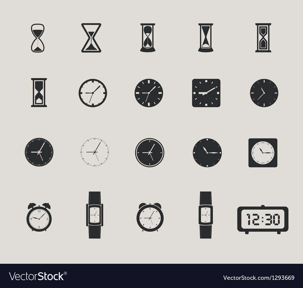 Clock web icons set vector