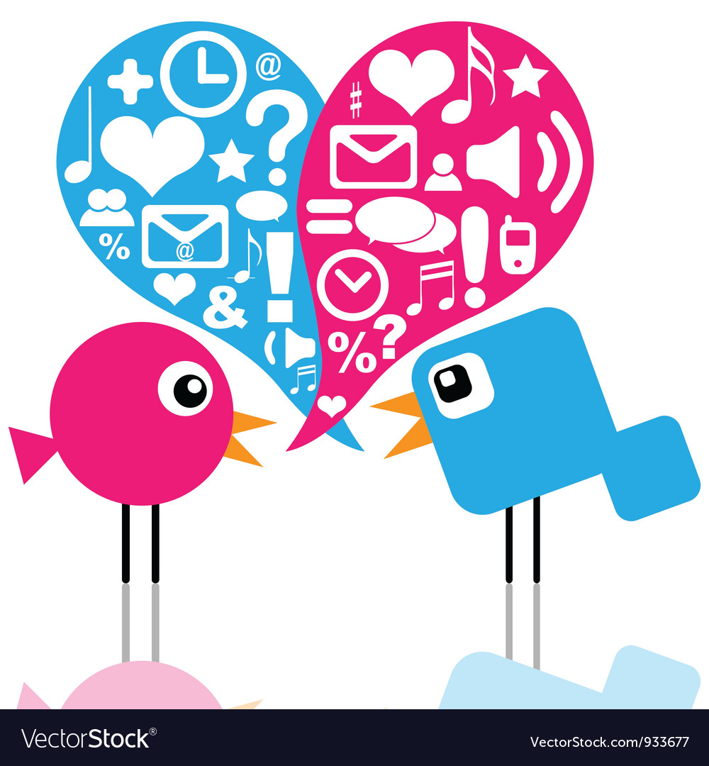 Birds with social media icons vector