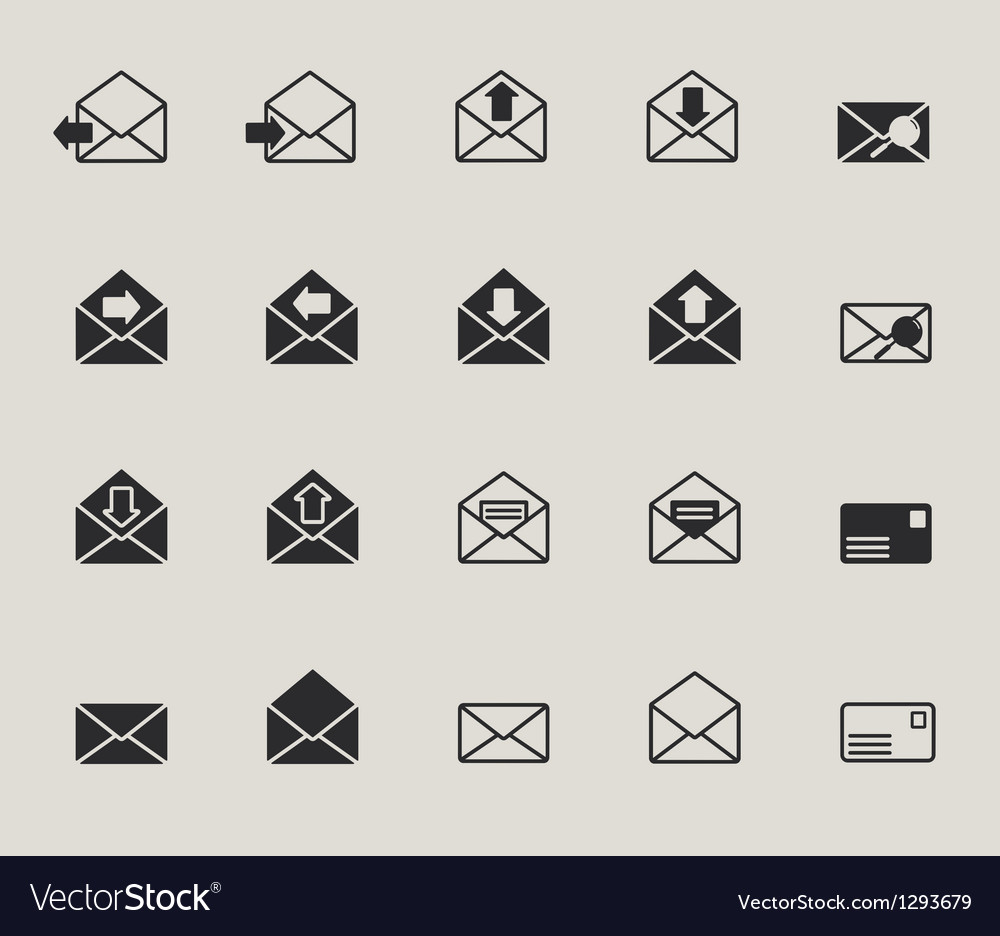 Mail envelope web icons set vector