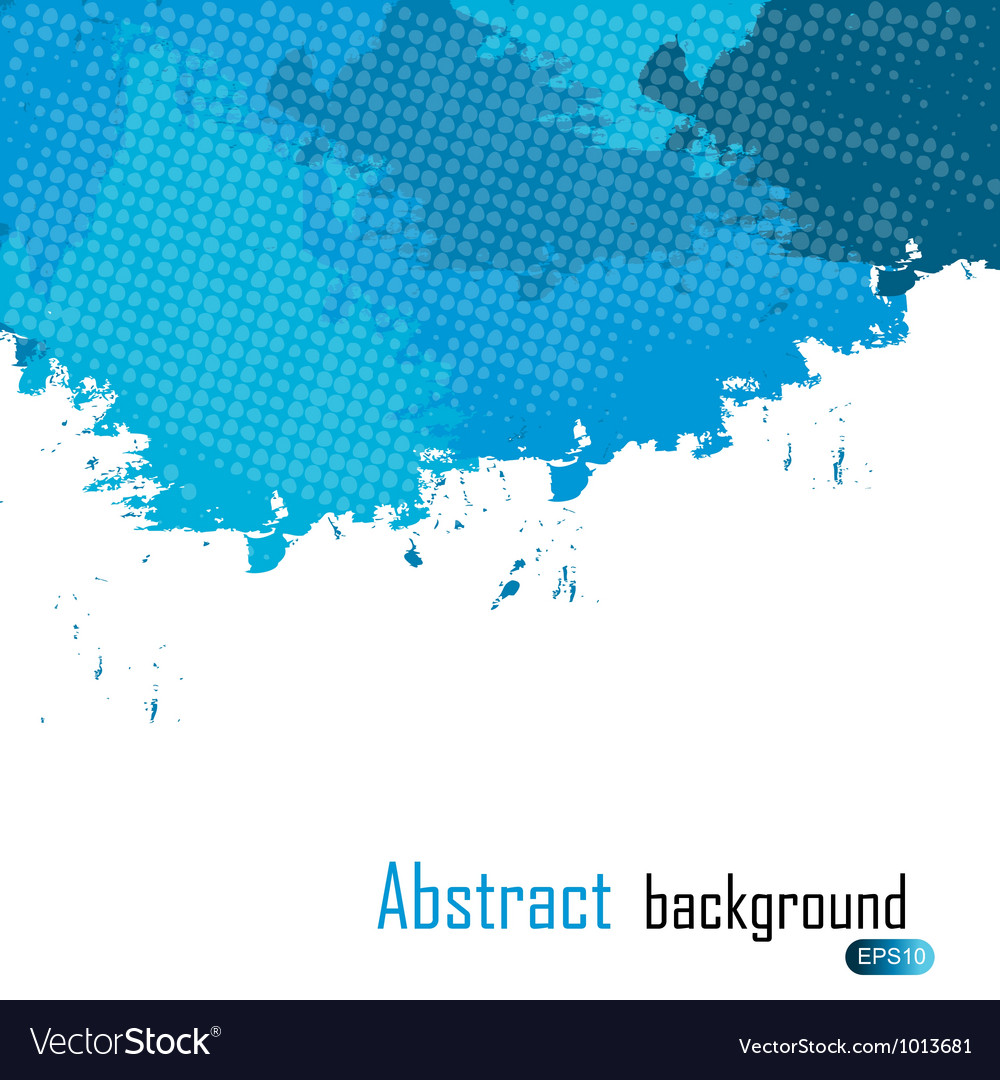 Blue abstract paint splashes  background wit vector