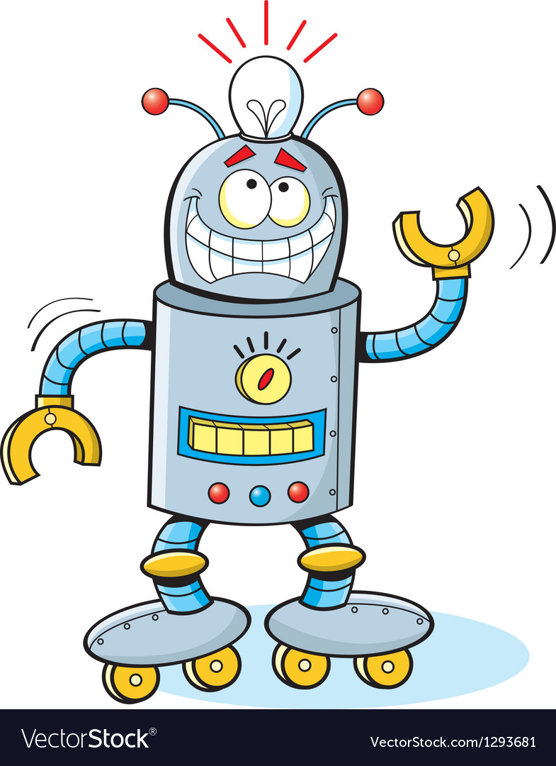 Cartoon thinking robot vector