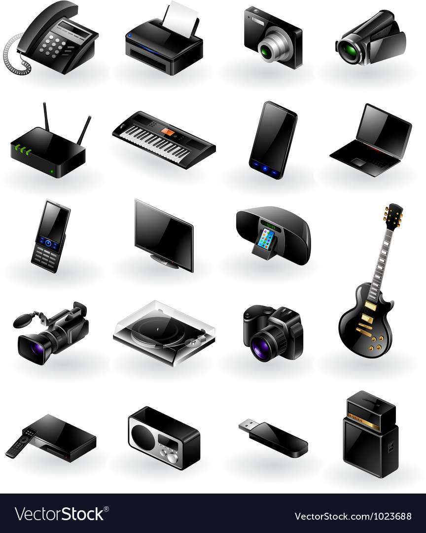 Mixed electronics icon set vector