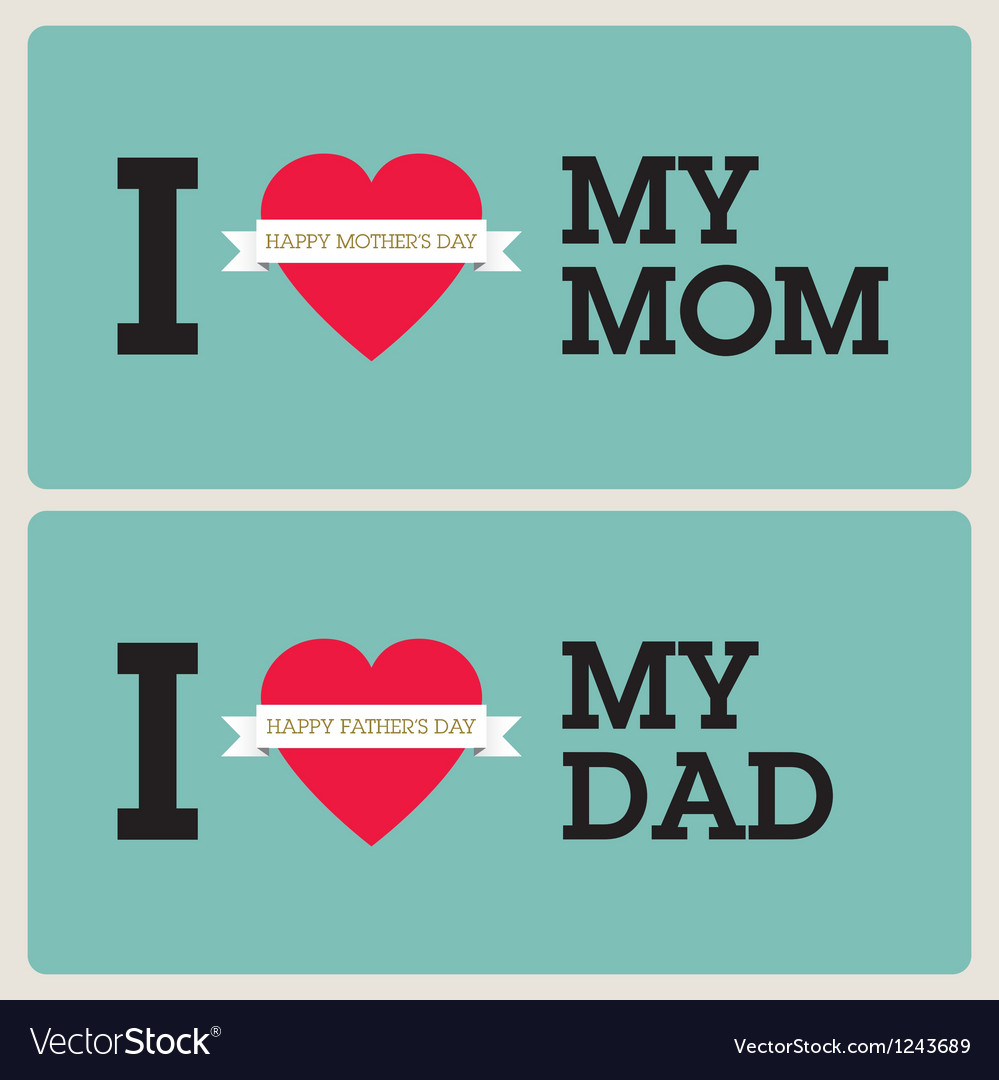 Mothers fathers day cards vector