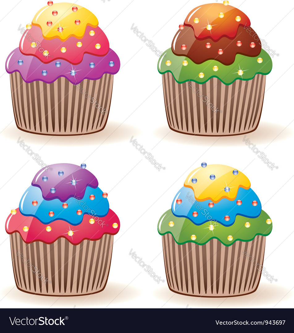Colorful cupcakes vector