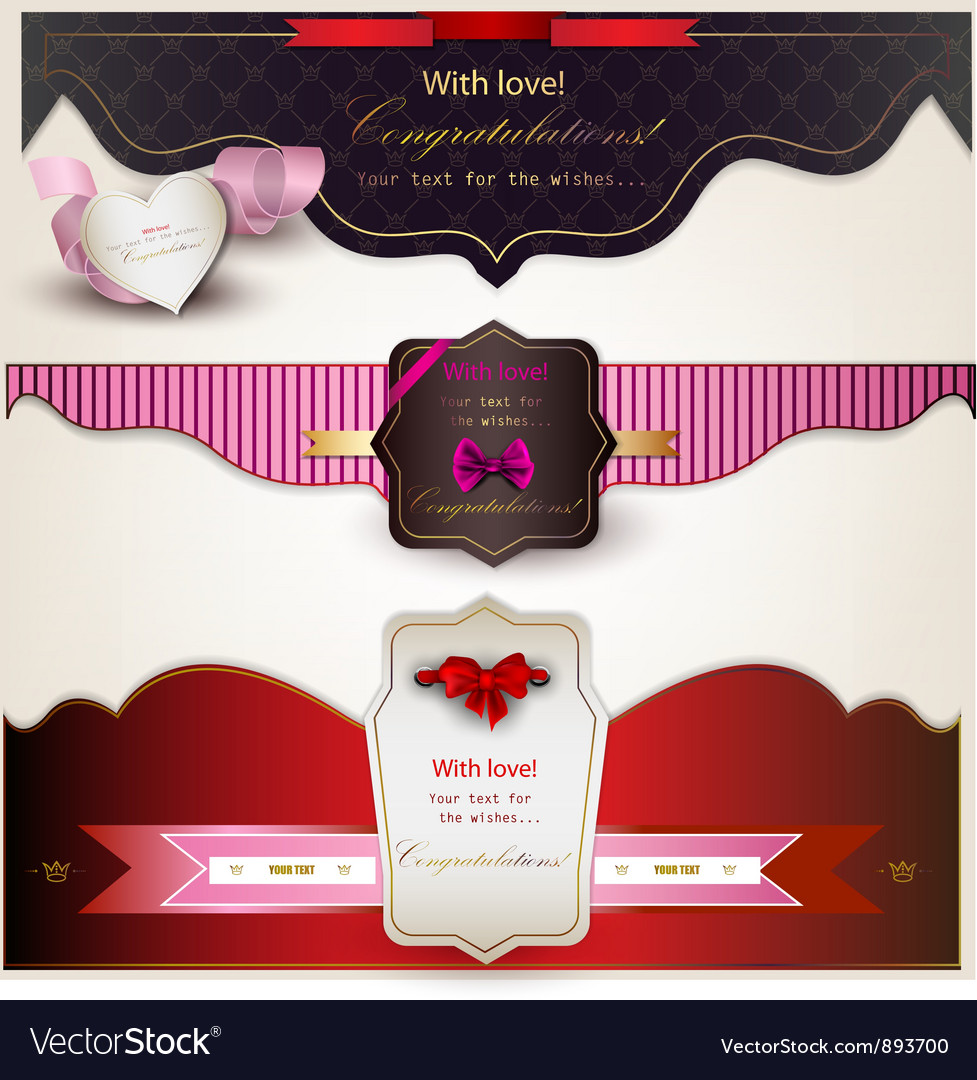 Holiday banners with ribbons vector