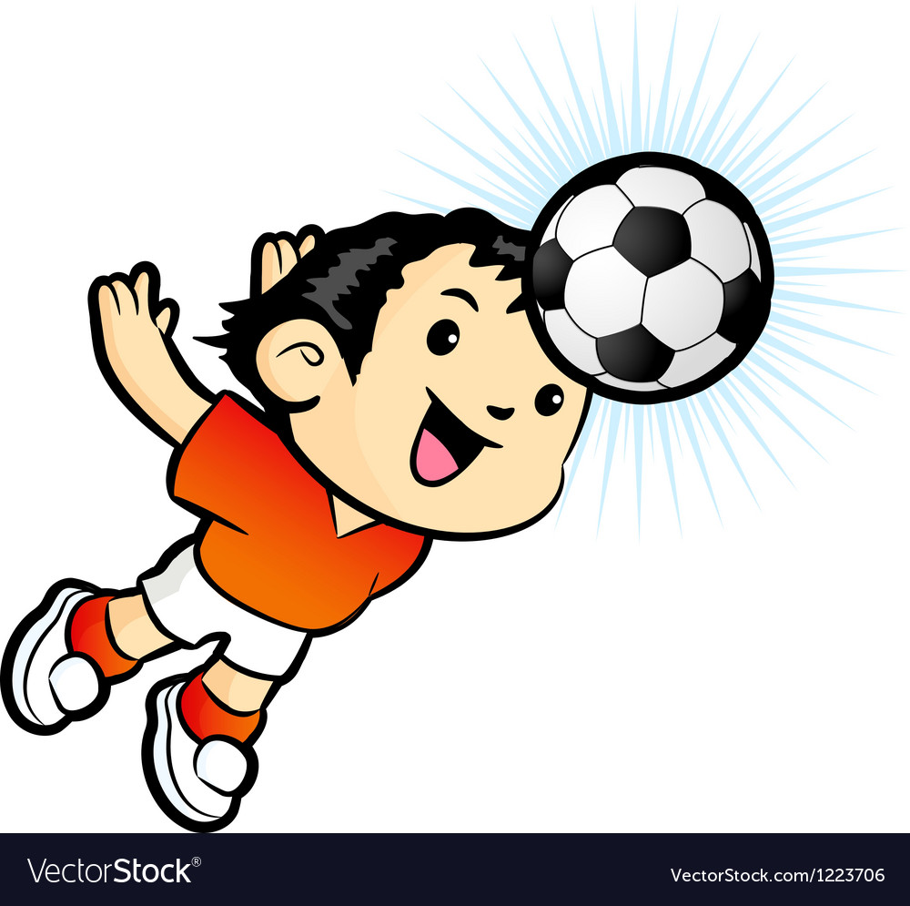 Football players heading mascot vector