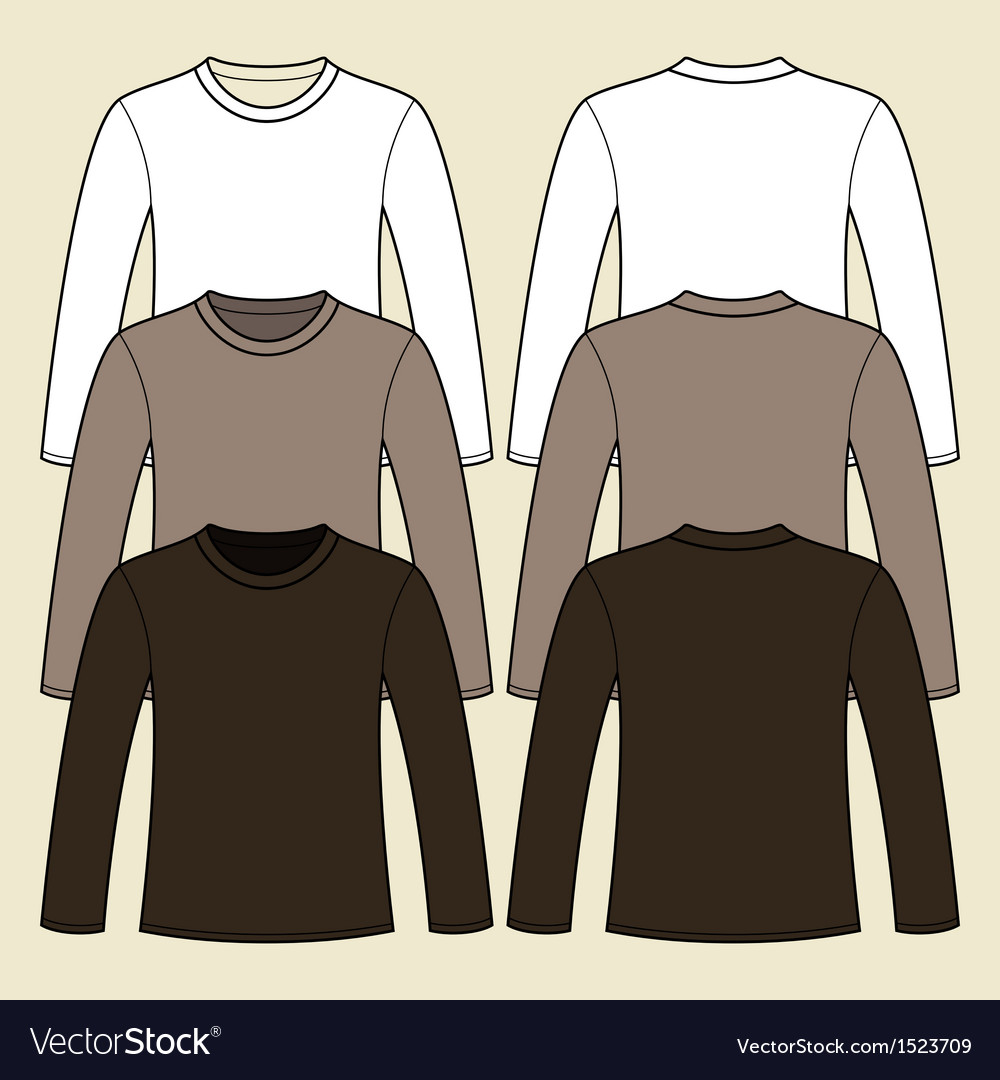 Long-sleeved and t-shirt template vector