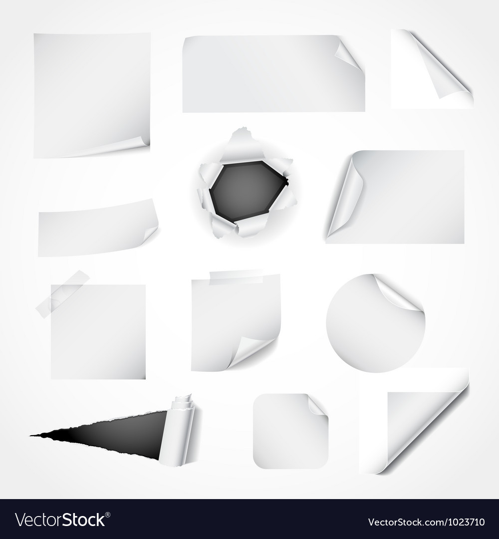 Set of white paper design elements vector