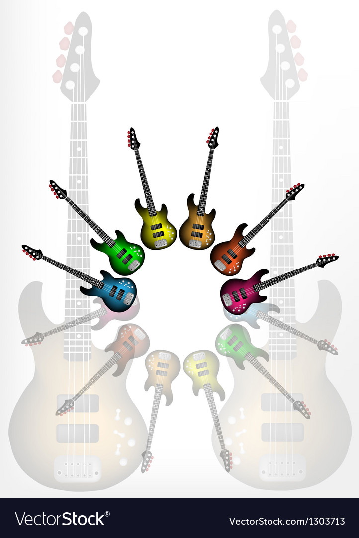 Various color of electric guitars vector