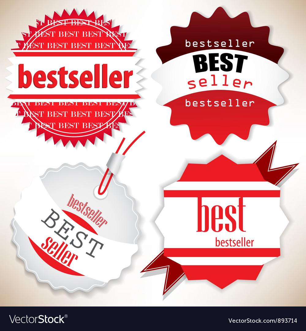 Bestseller red labels set vector