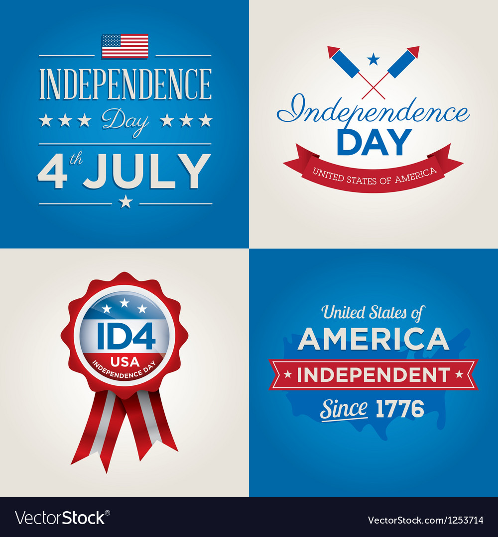 Happy independence day usa cards fonts vector