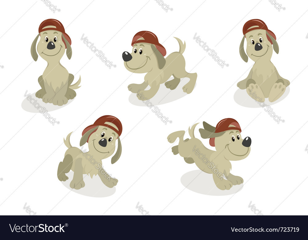 Cartoon dog mascot set vector