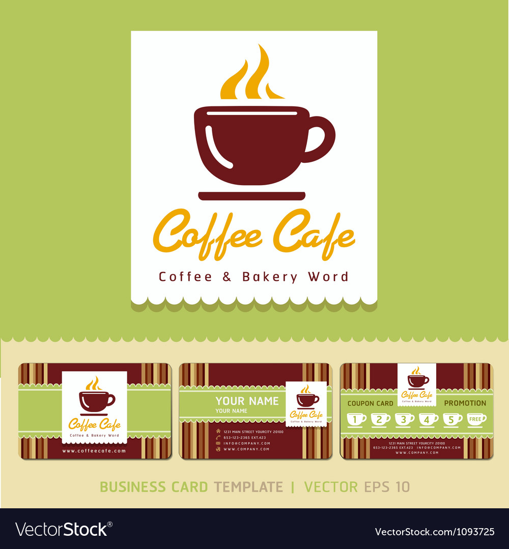 Coffee cafe icon logo and business card design vector