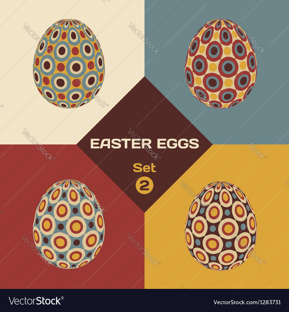 Set of 4 geometrical patterned eggs vector