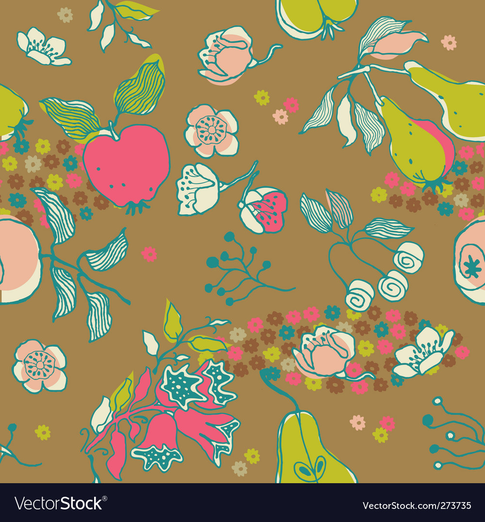 Fruit garden seamless pattern vector