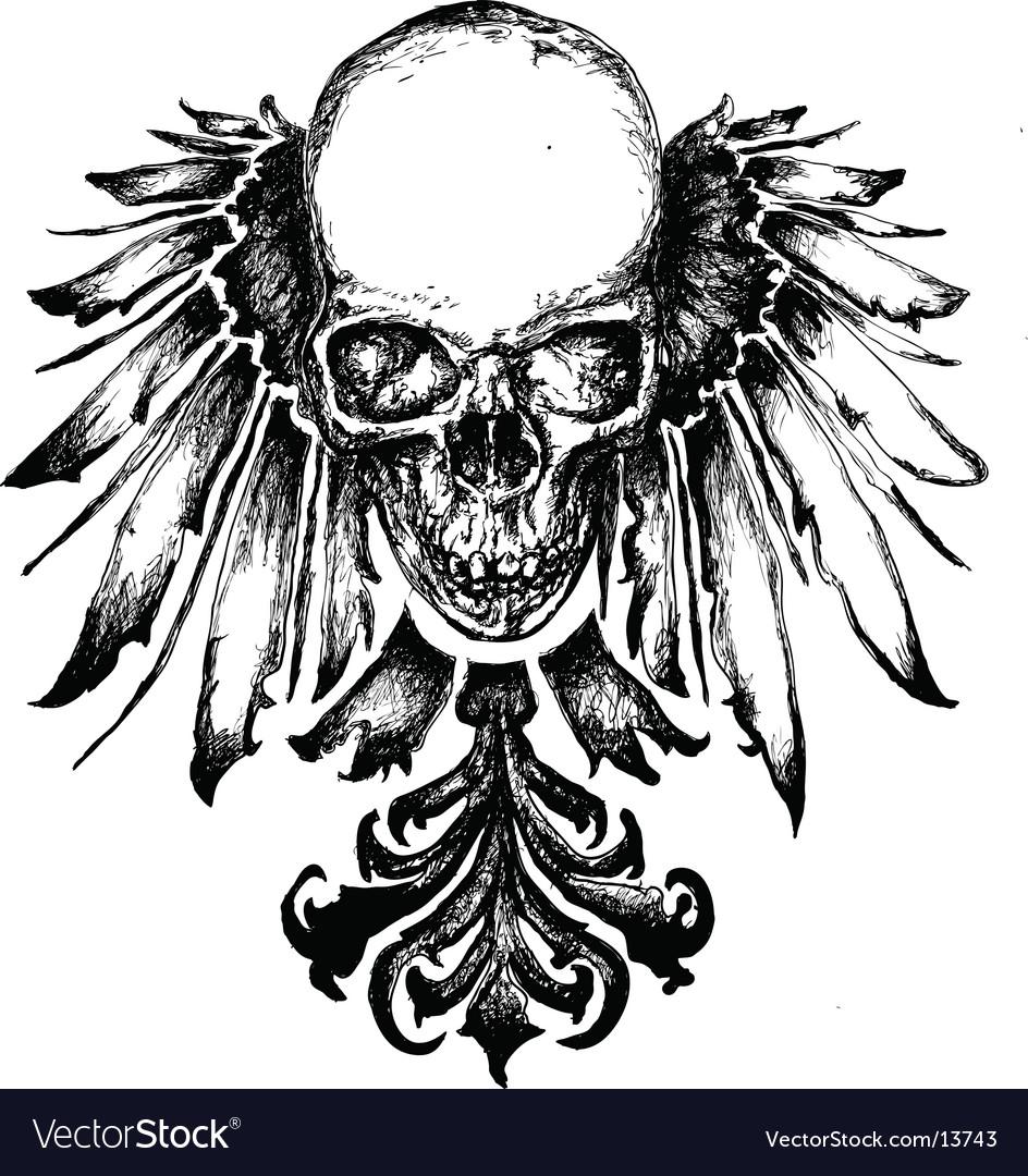 Skull heraldry illustration vector