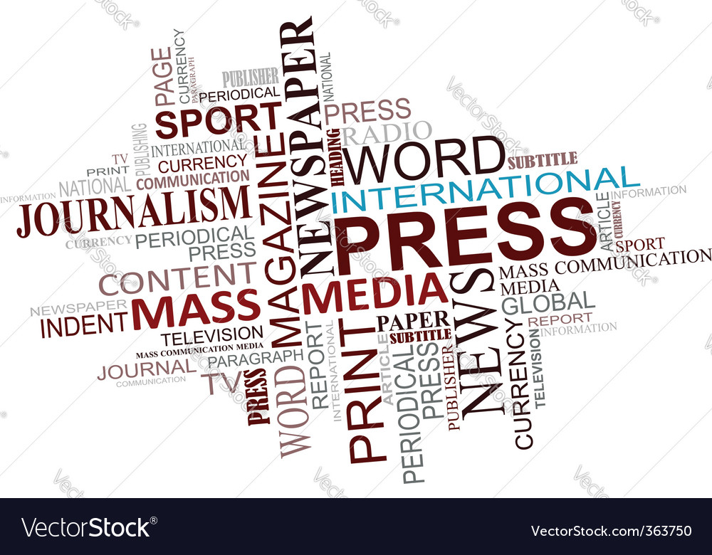 Media and journalism tags cloud vector