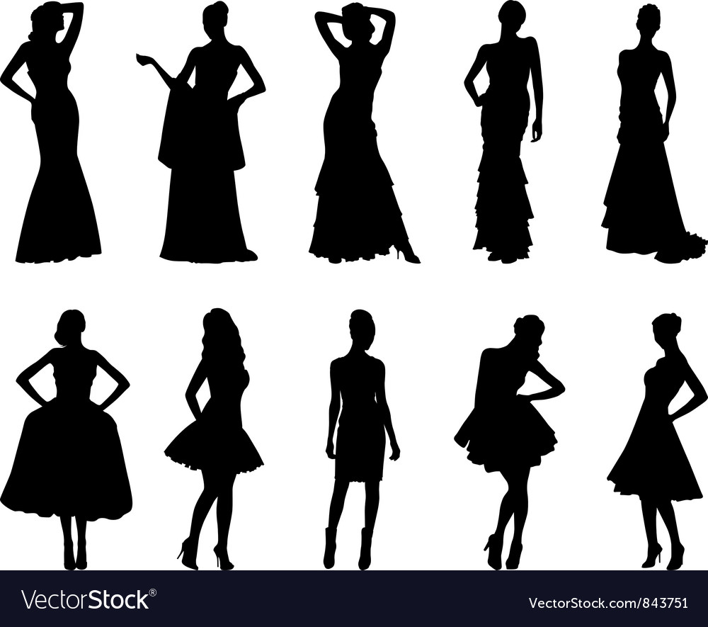 Elegant silhouettes of women vector