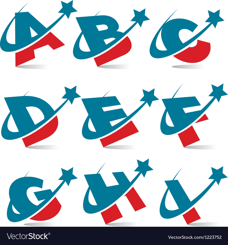 Swoosh patriotic alphabet set 1 vector
