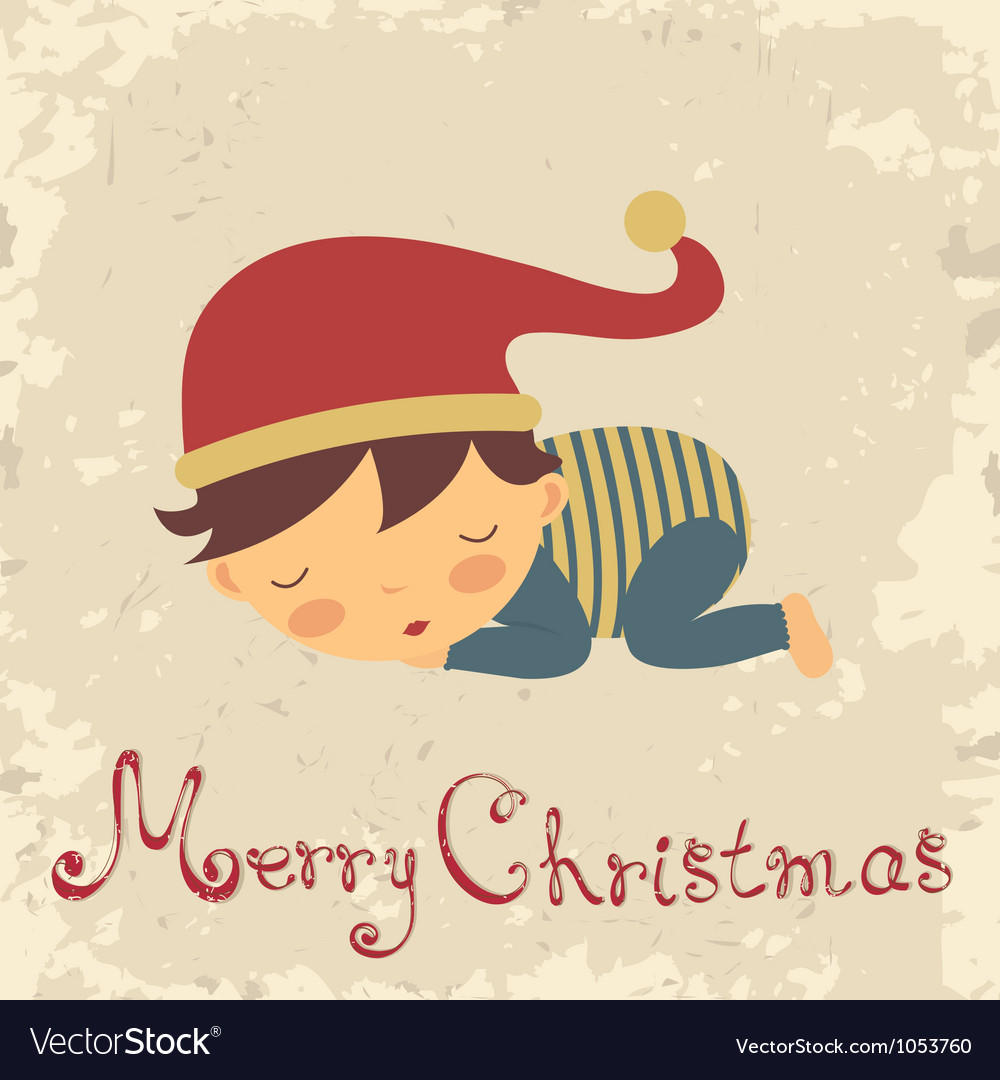 Christmas baby card vector